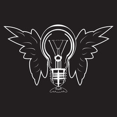 Light bulb with wings vector icon in flat style
