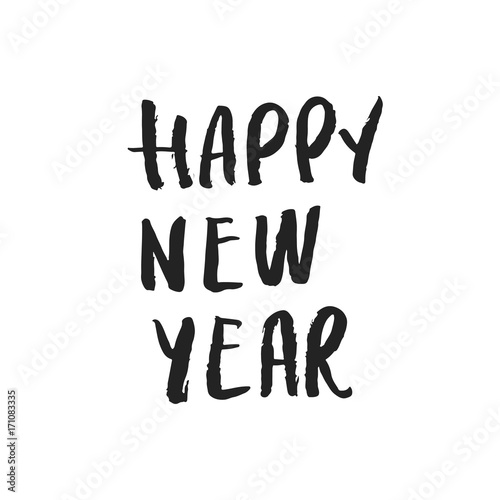 Happy new year - hand drawn Christmas lettering quote. Cute New Year ...