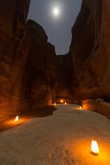 Petra By Night. Narrow gorge of the Siq
