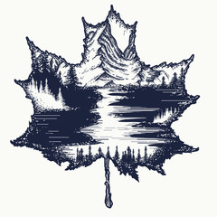 Autumn leaf and mountains tattoo and t-shirt design. Autumn tattoo. Maple leaf, mountain landscape. Symbol of nature, fall, travel, tourism, adventure, outdoors. Mountains and river art