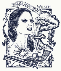 Wrath. Seven deadly sins tattoo and t-shirt design. Angry woman, symbol of rage, hatred, aggression, seven mortal sins. Wrath sins. Angry girl, explosion of emotions, violence and hostility tattoo
