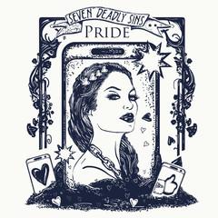 Pride. Seven deadly sins tattoo and t-shirt design. Vain fashion woman, internet dependence. Symbol arrogance, selfie, vanity, seven mortal sins. Vainglorious girl collects likes on social networks