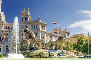 Poster Historical buildings fountain of Cibeles In Madrid, Spain