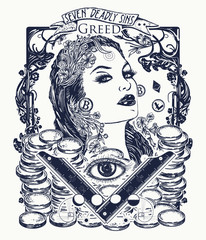 Greed. Seven deadly sins tattoo and t-shirt design. Greedy rich woman, luxury lifestyle, wealthy, millionaire, gold, seven mortal sins. Greed, glamour beautiful woman lady tattoo