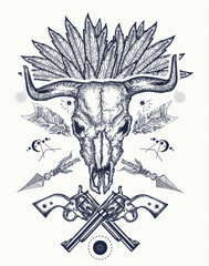 Bull skull tattoo and t-shirt design. Wild west tattoo, Bison skull, crossed revolvers. Symbol of a western, Wild West, crime. Wanted t-shirt design