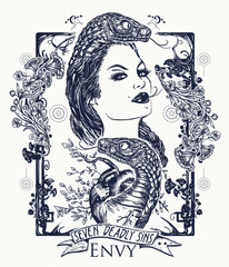 Envy. Seven deadly sins tattoo and t-shirt design. Envious woman, snake tempts heart. Feeling of envy, seven mortal sins. Symbol of envy, malignant gossip, jealousy tattoo