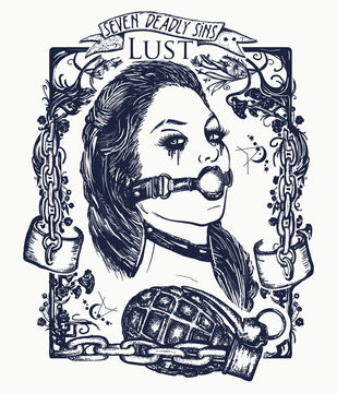 Lust. Seven deadly sins tattoo and t-shirt design. Sexy woman, symbol of fornication, debauchery, sexual perversions, BDSM. Lust, seven mortal sins tattoo. Lustful sexy dominatrix woman gothic tattoo