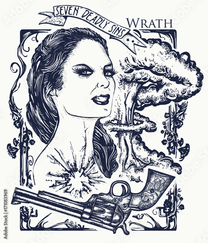 Wrath Seven Deadly Sins Tattoo And T Shirt Design Angry Woman