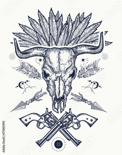 c86a15e2a Bull skull tattoo and t-shirt design. Wild west tattoo, Bison skull,  crossed revolvers. Symbol of a western, Wild West, crime. Wanted t-shirt  design