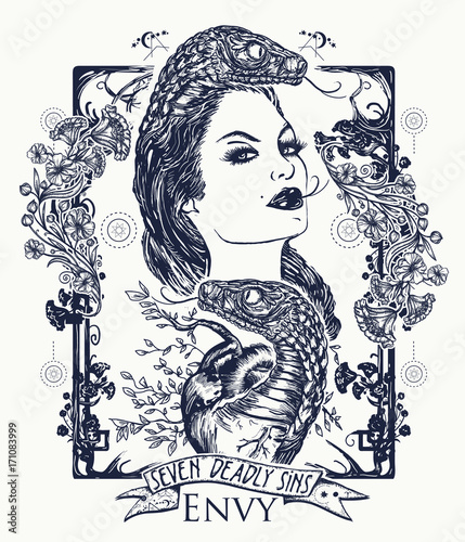 Envy Seven Deadly Sins Tattoo And T Shirt Design Envious Woman