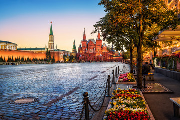 Printed kitchen splashbacks Moscow На Красной Площади цветы flowers on the Red Square