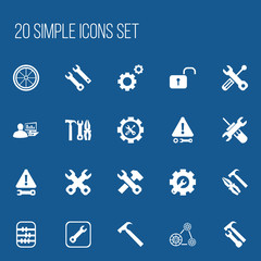 Set Of 20 Editable Toolkit Icons. Includes Symbols Such As Pliers Hammer, Settings, Cambelt And More. Can Be Used For Web, Mobile, UI And Infographic Design.