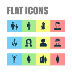 People Icons Set. Collection Of Work Man, Scientist, Businesswoman And Other Elements. Also Includes Symbols Such As User, Smart, Job.