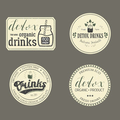 Collection of Retro Detox Drinks Natural Products Logo. Set of Vintage Eco Badges Hand Drawn Lettering. Emblem Vector Illustration for Web Graphic Design, Print, Logotype, Brand, Symbol.