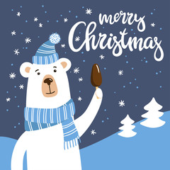 Smiling cartoon polar Bear with chocolate ice ream. Vector illustration with cute hand-drawn character and Merry Christmas inscription.