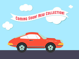 Retro styled sport car with the promo advertisement retro ribbon. Flat design illustration. Perfect for web banners and advertisement.