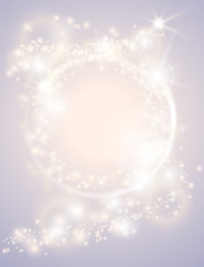 Wall Mural - Abstract glow light spark circle frame bright Christmas background. Sparkling festive design poster. Glitter magic round border. Fantasy greeting card
