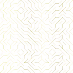 Seamless vector geometric golden line pattern. Abstract background with gold texture on white. Simple minimalistic graphic print. Repeating modern swatch trellis grid. Trendy hipster sacred geometry