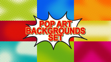 Pop art background set with halftone dots, vector retro comic dotted backgrounds design HD