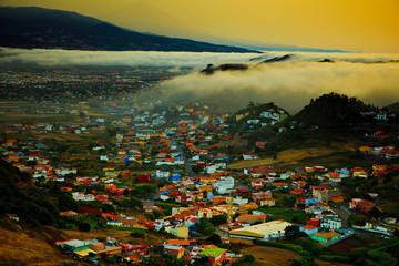 mountaine village foggy