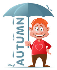 Autumn. Funny red guy with umbrella. Cartoon styled vector illustration. Isolated on white. No transparent objects.