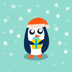 Baby Penguin standing on sky blue background and holding the gift. Cute Penguin cartoon flat design vector illustration
