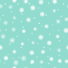 Simple seamless pattern of snowflakes on a sky blue background. Abstract wallpaper, wrapping decoration. Symbol of winter, Merry Christmas holiday, Happy New Year celebration Vector illustration