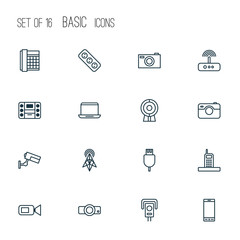 Hardware Icons Set. Collection Of Broadcast, Boombox, Cctv And Other Elements. Also Includes Symbols Such As Router, Smartphone, Slide.