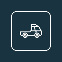 Prime-Mover Outline Symbol. Premium Quality Isolated Truck  Element In Trendy Style.