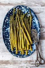 top view of asparagus in rustic setting