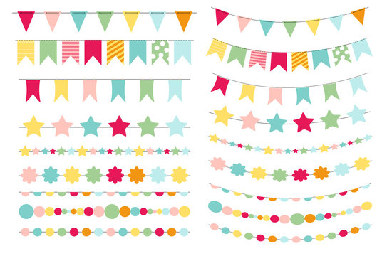 Party Flags, Buntings,  Brushes for Creating a Party Invitation