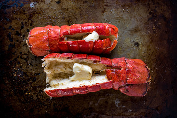 Two cooked red lobster tails with butter top view