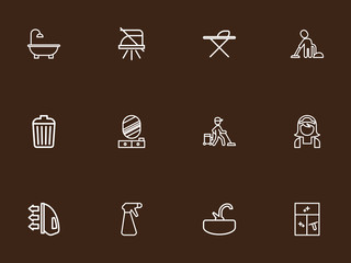 Set Of 12 Editable Hygiene Outline Icons. Includes Symbols Such As Vacuuming Man, Garbage Bin, Metal Board And More. Can Be Used For Web, Mobile, UI And Infographic Design.