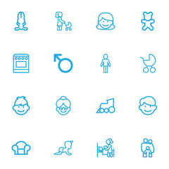 Set Of 16 Editable Kin Outline Icons. Includes Symbols Such As Man Symbol, Doll, Stove And More. Can Be Used For Web, Mobile, UI And Infographic Design.