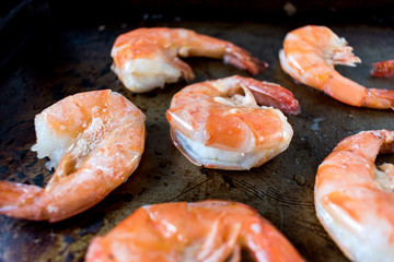 Cooked buttered Shrimp isolated detail