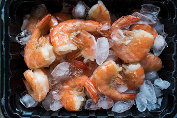 Cooked Shrimp on ice top view