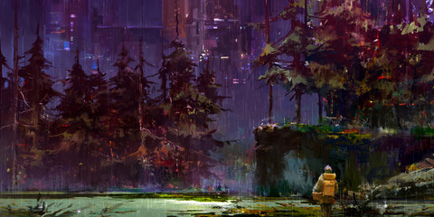 drawn cyberpunk fantasy night landscape with a traveler in the forest