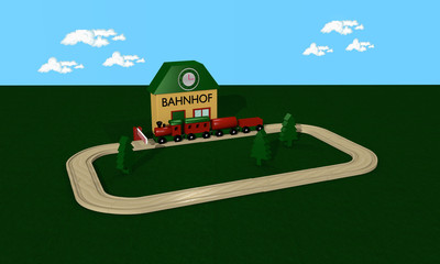 Wooden railway for children with station and rails.