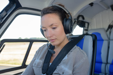 female on helicopter tour