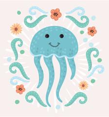 Cute happy jellyfish cartoon character Sea animal vector illustration Invertebrate animal sea fauna Medusa vector illustration