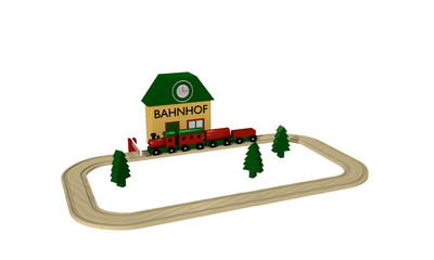 Wooden railway for children with station, rails and barrier isolated on white.