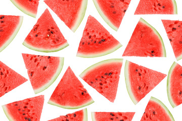 watermelon seamless, pieces of ripe red watermelon on a white background, high quality photo