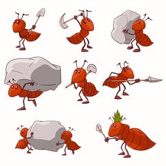 Collection of colorful vector illustrations of cartoon red ant colony