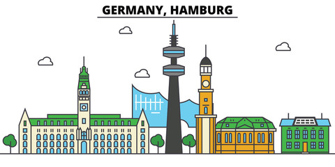 Germany, Hamburg. City skyline: architecture, buildings, streets, silhouette, landscape, panorama, landmarks. Editable strokes. Flat design line vector illustration concept. Isolated icons