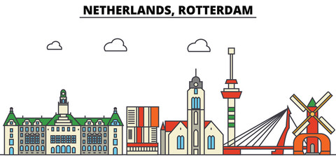 Photo sur Aluminium Rotterdam Netherlands, Rotterdam. City skyline: architecture, buildings, streets, silhouette, landscape, panorama, landmarks. Editable strokes. Flat design line vector illustration concept. Isolated icons