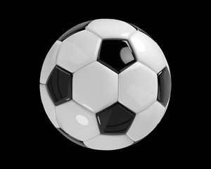 Realistic soccer ball or football ball on black background. 3d Style vector Ball.