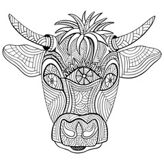 Hand-drawn head of cow. Zentangle and doodle style. Coloring book or tattoo. Vector illustration.