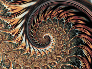 Abstract Shine Brown Metallic Helix  Background   - Fractal Art