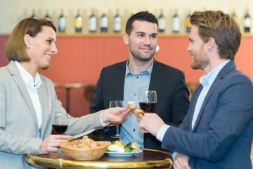 friends socializing in the wine bar