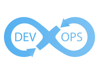 DevOps logotype. Sign of infinity with arrows blue